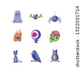 bundle halloween with set icons ... | Shutterstock .eps vector #1522031714