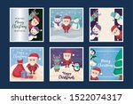 set of cards of merry christmas ... | Shutterstock .eps vector #1522074317