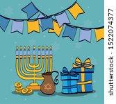 happy hanukkah celebration... | Shutterstock .eps vector #1522074377