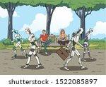 modern robots walking in the... | Shutterstock .eps vector #1522085897