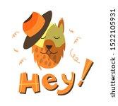 funny vector dog wearing hat... | Shutterstock .eps vector #1522105931