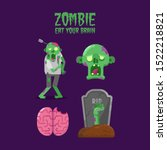 happy halloween zombie...   Shutterstock .eps vector #1522218821