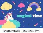 cute unicorn vector. silently... | Shutterstock .eps vector #1522230494