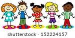 fun stick figure cartoon kids ... | Shutterstock .eps vector #152224157
