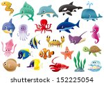 a variety of marine organisms | Shutterstock .eps vector #152225054