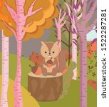 cute squirel with acorns forest ... | Shutterstock .eps vector #1522287281