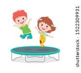 Cartoon Children Jumping On...