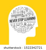 human head silhouette with set... | Shutterstock .eps vector #1522342721