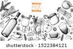 hot drinks. mulled wine  winter ... | Shutterstock .eps vector #1522384121