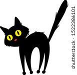 vector silhouette of black cat... | Shutterstock .eps vector #1522386101