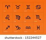 zodiac icons on orange... | Shutterstock . vector #152244527