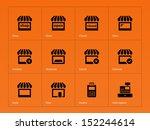 shop icons on orange background....