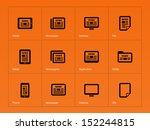 newspaper icons on orange...