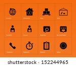 logistics icons on orange...