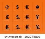 exchange rate icons on orange...