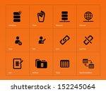 database icons on orange... | Shutterstock . vector #152245064