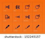 scissors with cut lines icons....