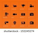 camera icons on orange...