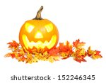 halloween jack o lantern on red ... | Shutterstock . vector #152246345