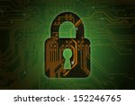 Closed lock on circuit background, security concept   - stock photo