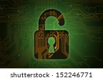 Open lock on circuit background, security concept   - stock photo