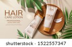 flat lay hair care lotion ads... | Shutterstock .eps vector #1522557347
