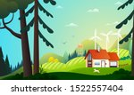 panoramic view on country house ... | Shutterstock .eps vector #1522557404