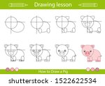 drawing tutorial. how to draw a ... | Shutterstock .eps vector #1522622534