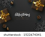 christmas black background.... | Shutterstock .eps vector #1522674341