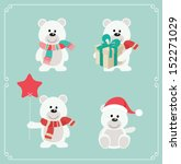 Set Of Cute Bears. Vector...