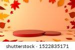 overlap red circle podium... | Shutterstock . vector #1522835171
