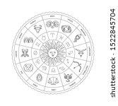 black and white horoscope... | Shutterstock .eps vector #1522845704