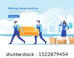 moving house service. woman... | Shutterstock .eps vector #1522879454