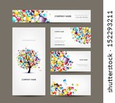 business cards collection with... | Shutterstock .eps vector #152293211
