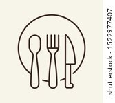 plate and flatware line icon.... | Shutterstock .eps vector #1522977407