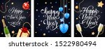 new year postcard set with... | Shutterstock .eps vector #1522980494