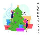women decorating christmas tree....