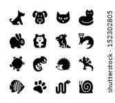Set of web icons. Pet shop, types of pets. - stock vector