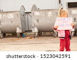 Stock photo little girl protests against nature pollution 1523042591