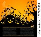 flyer or banner halloween.... | Shutterstock .eps vector #1523053424