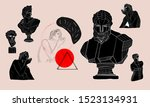 the head of an antique statue...   Shutterstock .eps vector #1523134931