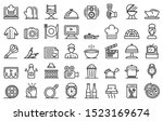 cooking show icons set. outline ... | Shutterstock .eps vector #1523169674