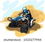 quad bike in desert with dust... | Shutterstock .eps vector #1523277944
