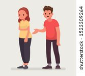 sorry. the man apologizes to... | Shutterstock .eps vector #1523309264