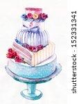 cake  roses  cake stand ... | Shutterstock . vector #152331341
