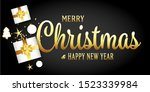 merry christmas greeting card... | Shutterstock . vector #1523339984