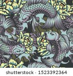 japanese style seamless color... | Shutterstock .eps vector #1523392364