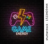 game neon sign  bright...   Shutterstock .eps vector #1523405444