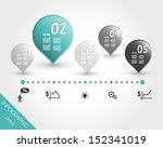 turquoise timeline with buttons ... | Shutterstock .eps vector #152341019