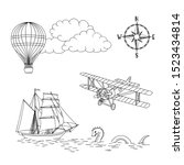 hand drawn vintage map icons ... | Shutterstock .eps vector #1523434814